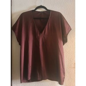 Eileen Fisher silk maroon top.